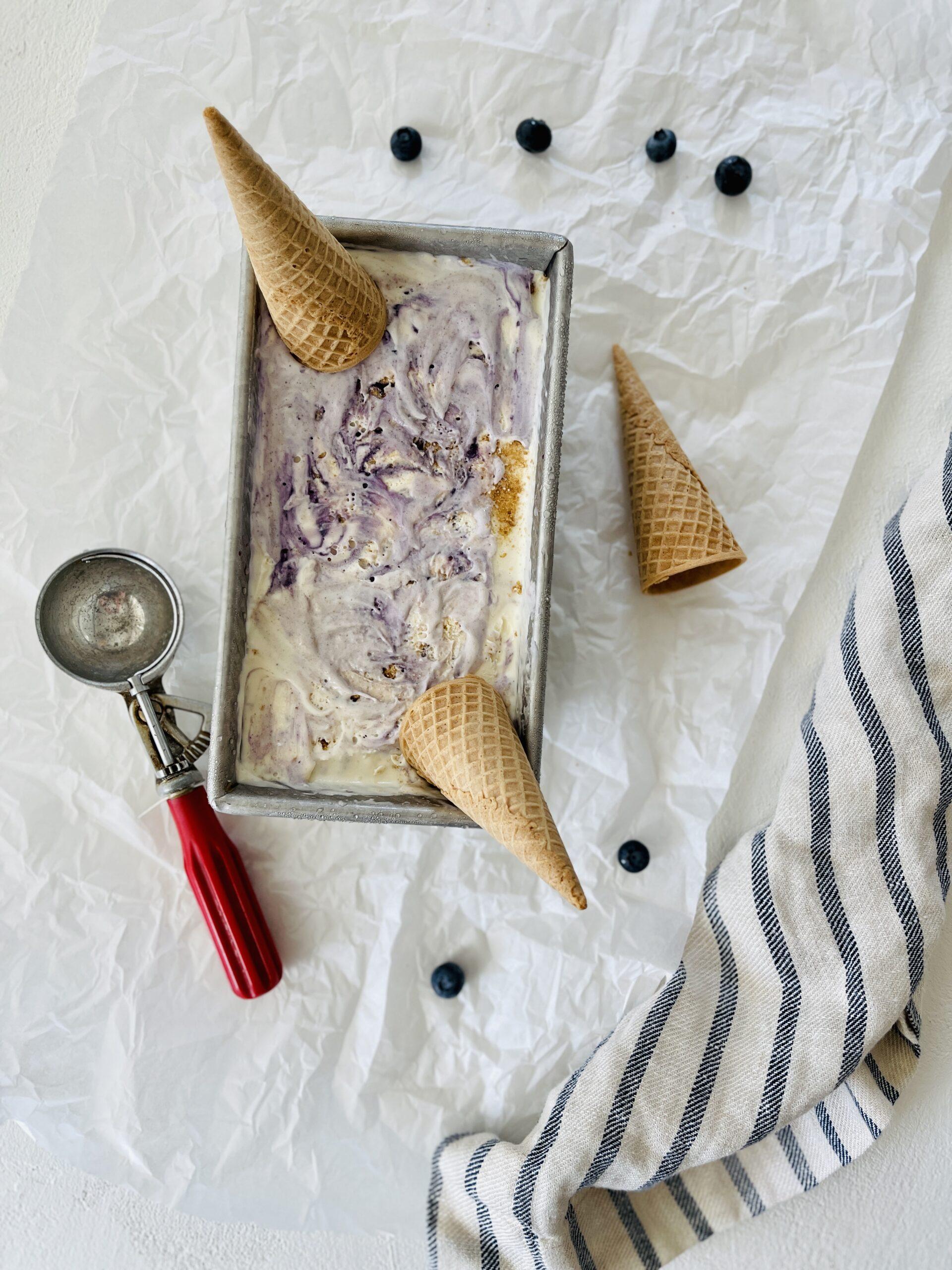 Blueberry Cheesecake No Churn Ice Cream