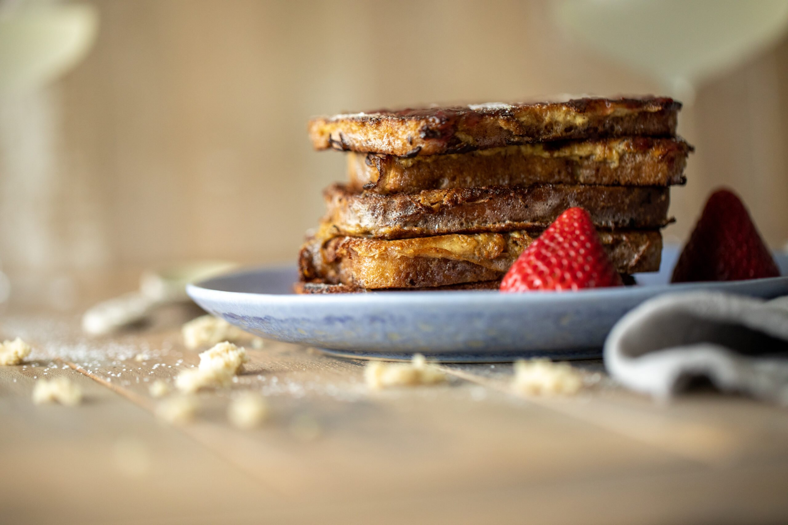 Gluten Free Sourdough French Toast with Raspberry Syrup