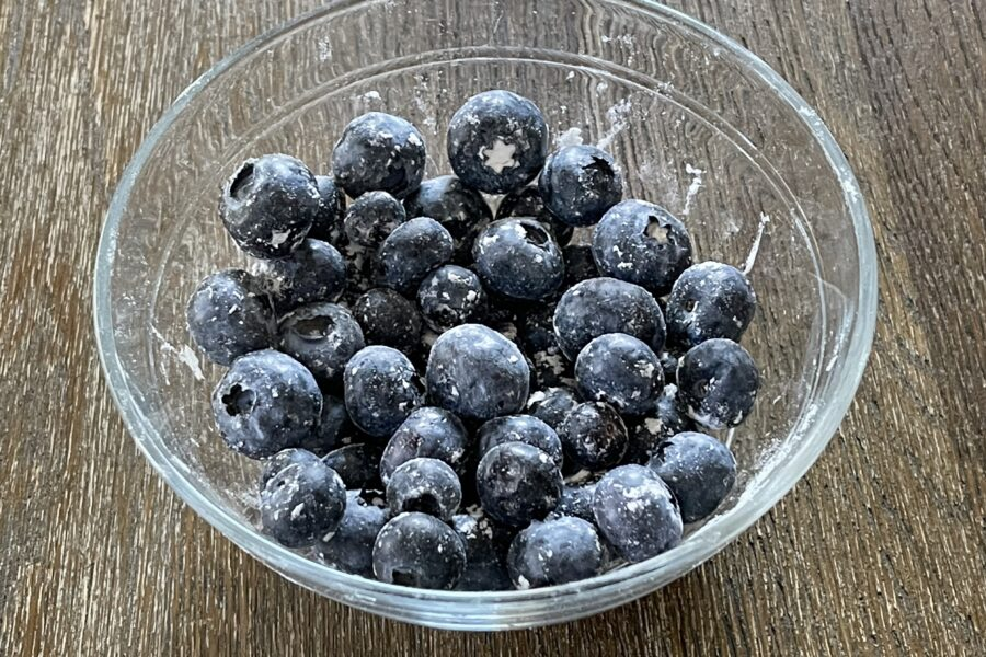 Fresh blueberries tossed in flour so they don't sink