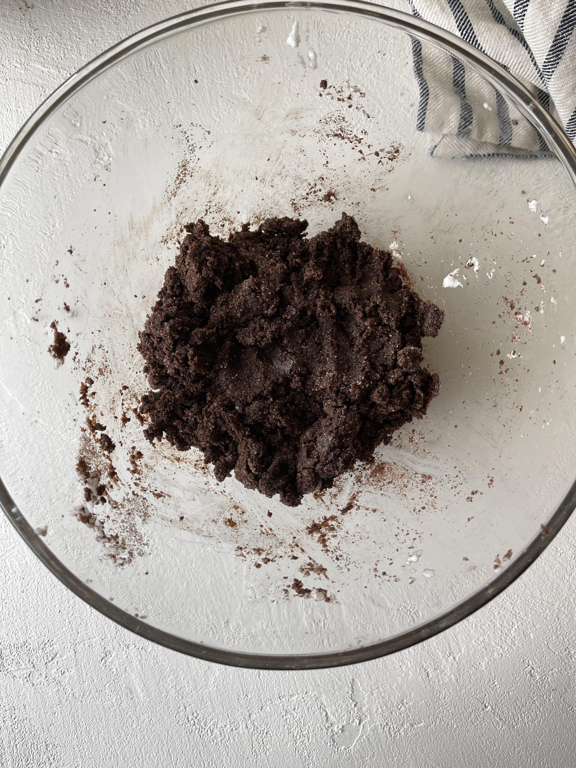 Almond flour mixed with egg whites and dutch cacao powder