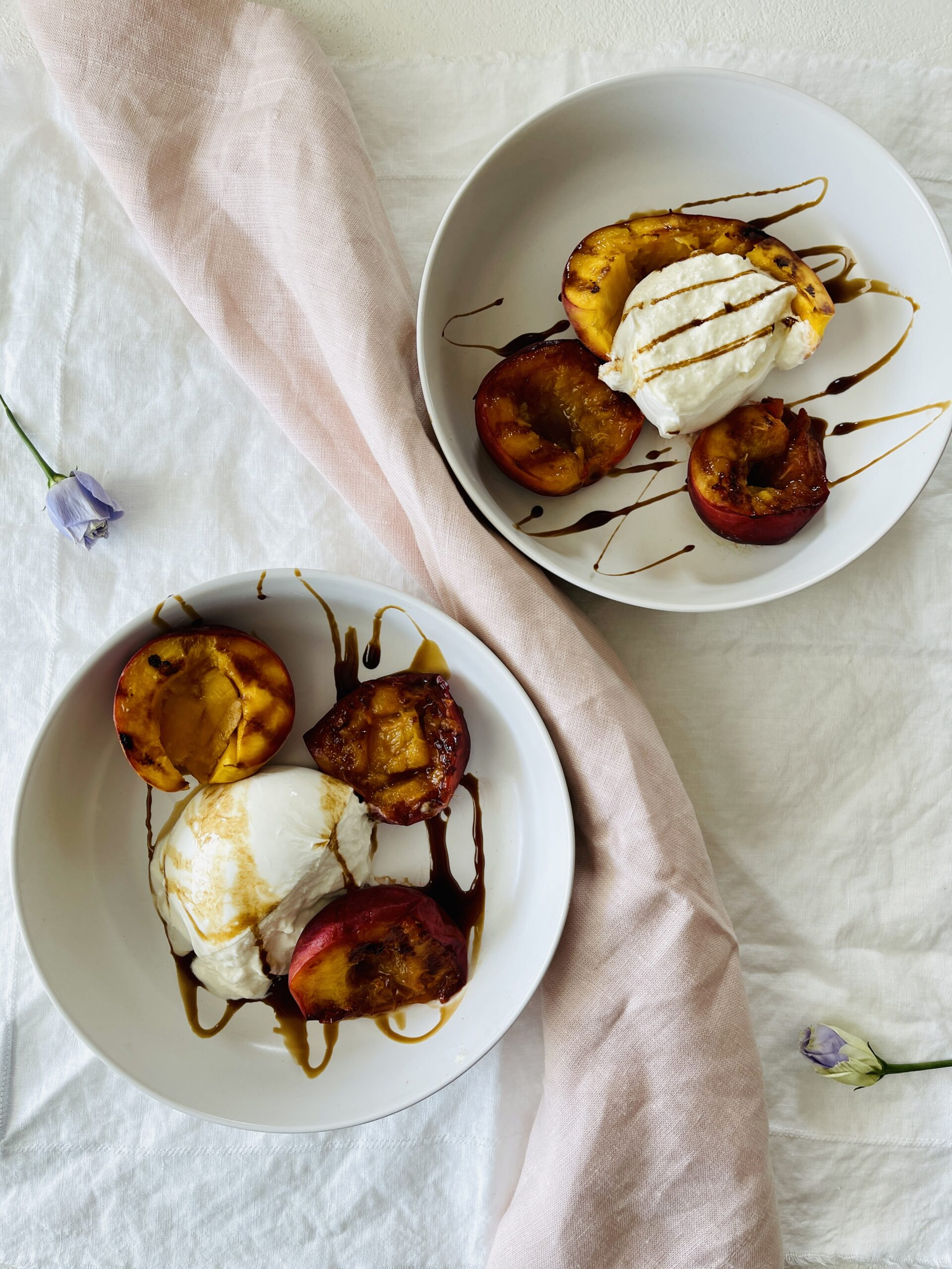 Grilled Peach and Burrata Salad with Balsamic Reduction